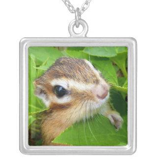 Chipmunk photo (20-1) square pendant necklace
