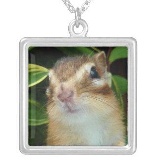 Chipmunk photo (20-2) square pendant necklace