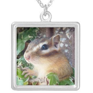 Chipmunk photo (20-3) square pendant necklace
