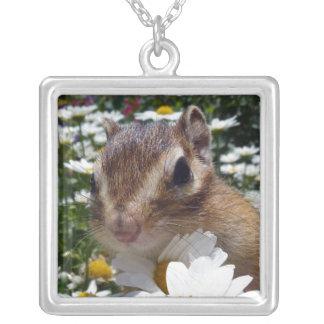Chipmunk photo (30-12) square pendant necklace