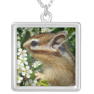 Chipmunk photo (30-19) square pendant necklace