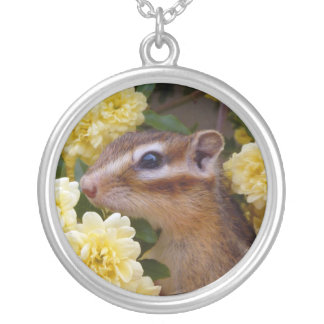 Chipmunk photo (30-1) round pendant necklace
