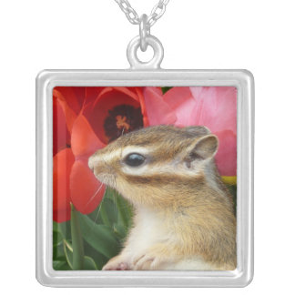 Chipmunk photo (30) square pendant necklace