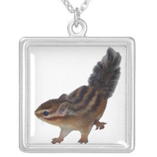 Chipmunk photo (31) square pendant necklace