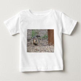 Chipmunk que alimenta en la tierra playera de bebé