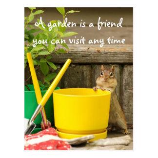 Chipmunk que cultiva un huerto con la postal de la