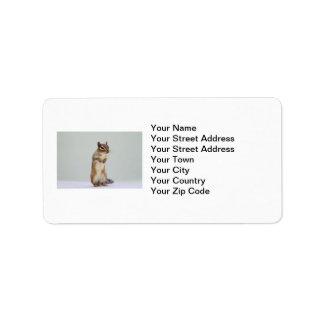 Chipmunk que se levanta la foto etiquetas de dirección