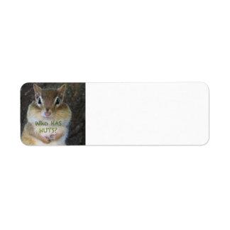 ¿Chipmunk - quién tiene nueces? Etiqueta De Remite