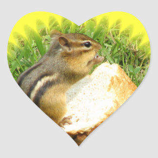 Chipmunk saying grace heart sticker