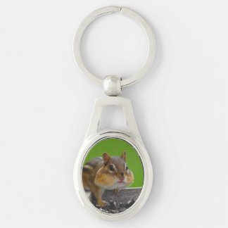 chipmunk Silver-Colored oval metal keychain