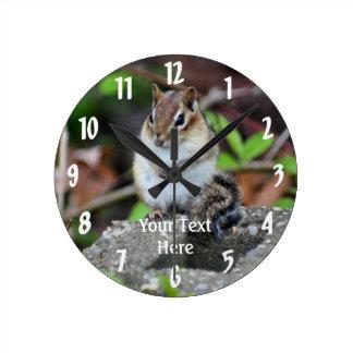 Chipmunk Sitting Animal Round Clock