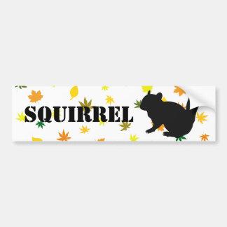 Chipmunk, Squirrel and illustration, (Black) Bumper Sticker