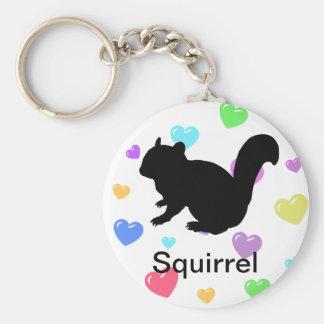 Chipmunk, Squirrel and illustration, (Black) Keychain