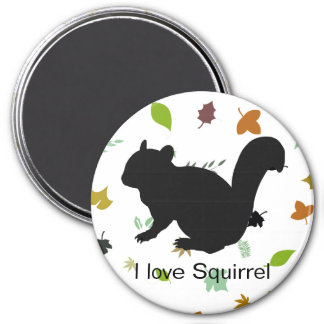 Chipmunk, Squirrel and illustration, (Black) Magnets