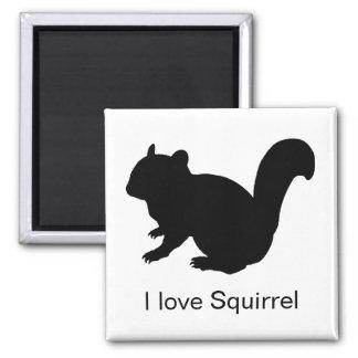 Chipmunk, Squirrel and illustration, (Black) Fridge Magnets