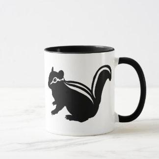 Chipmunk, Squirrel and illustration, (Black) Mug