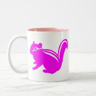 Chipmunk, Squirrel and illustration, (Black) Two-Tone Coffee Mug