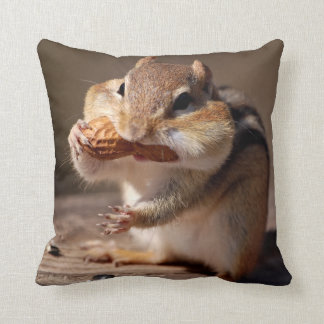 Chipmunk Stuffing His Face Throw Pillow