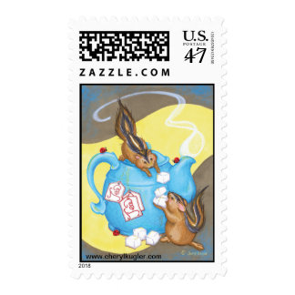 Chipmunk Tea Party Postage Stamps
