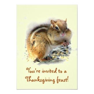Chipmunk Thanksgiving Invitation