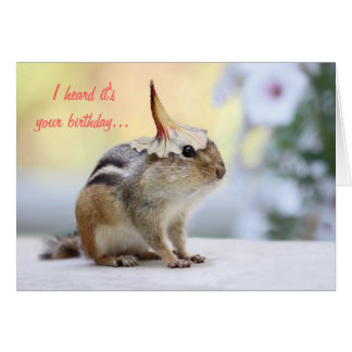 Chipmunk Wearing Flower Party Hat Card