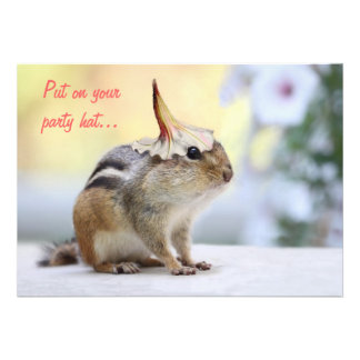Chipmunk Wearing Flower Party Hat Personalized Announcements