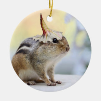 Chipmunk Wearing Flower Party Hat Christmas Ornament