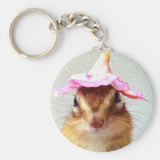 Chipmunk wears flower hat keychain
