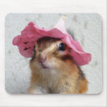 Chipmunk wears flower hat mouse pad