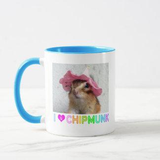 Chipmunk wears flower hat mug