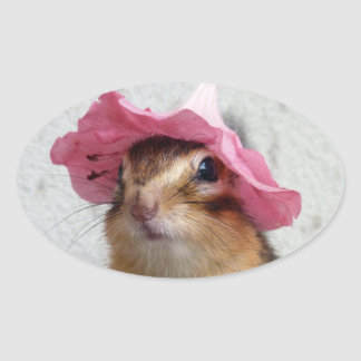 Chipmunk wears flower hat oval sticker