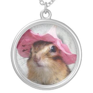 Chipmunk wears flower hat round pendant necklace