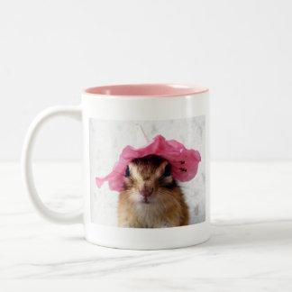 Chipmunk wears flower hat Two-Tone coffee mug