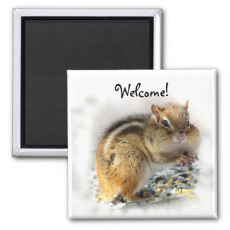 Chipmunk Welcome 2 Inch Square Magnet
