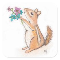 Chipmunk with Flower Bouquet Square Sticker