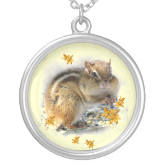 Chipmunk with Lilies Round Pendant Necklace