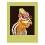 chipmunk with prairie clover hat on postcard