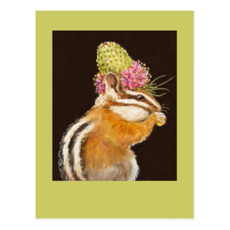 chipmunk with prairie clover hat on postcard