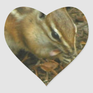 Chipmunk with tongue hanging out heart sticker