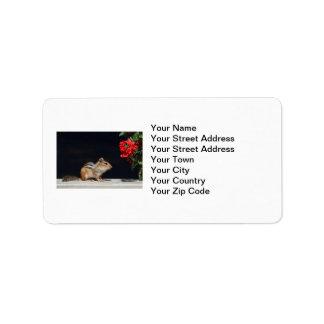 Chipmunk y foto de las flores del rojo etiqueta de dirección