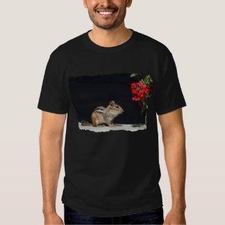 Chipmunk y foto de las flores del rojo playeras