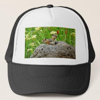 Chipmunks and wildflowers trucker hat
