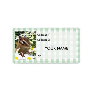 Chipmunks y ardillas, etiqueta etiqueta de dirección