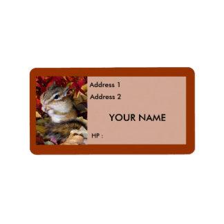 Chipmunks y ardillas, etiqueta etiquetas de dirección