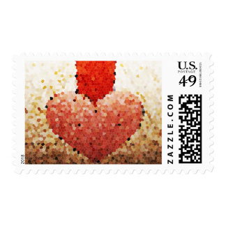 """Chipped Heart"" - Postage Stamp"