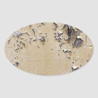 Chipped Painted Metal Textured Oval Sticker