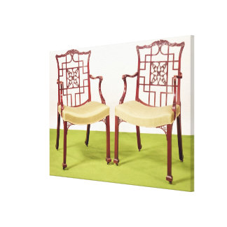 Chippendale mahogany dining chairs canvas print