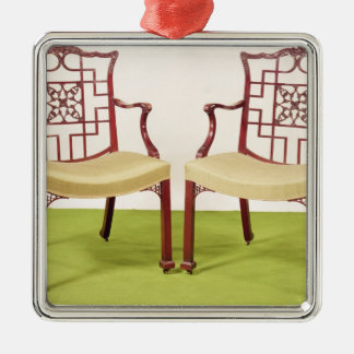 Chippendale mahogany dining chairs metal ornament