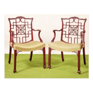 Chippendale mahogany dining chairs postcard