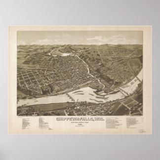 Chippewa Falls WI 1886 Antique Panoramic Map Poster